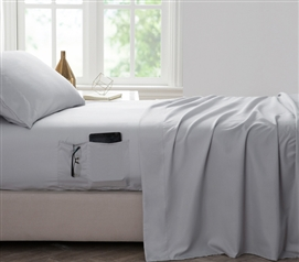 Bedside Pocket Twin XL Sheet Set   Supersoft Glacier Gray