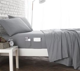 Bedside Pocket Twin XL Sheet Set   Supersoft Gray