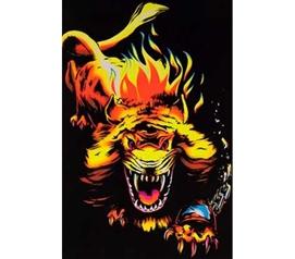 Lion Flame Blacklight Poster